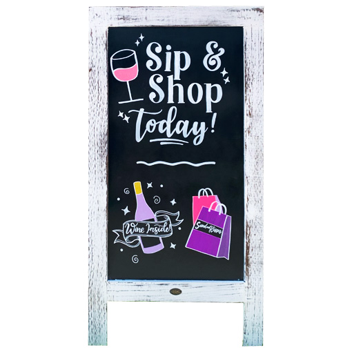 A-Frame Sign with Sip and Shop for Sand and Kisses