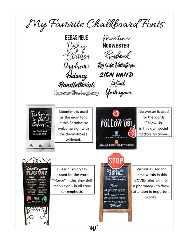 My Favorite Chalkboard Fonts Printographic