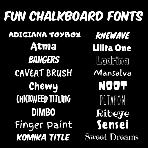 Fun Chalkboard Fonts