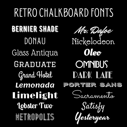 Retro Chalkboard Fonts