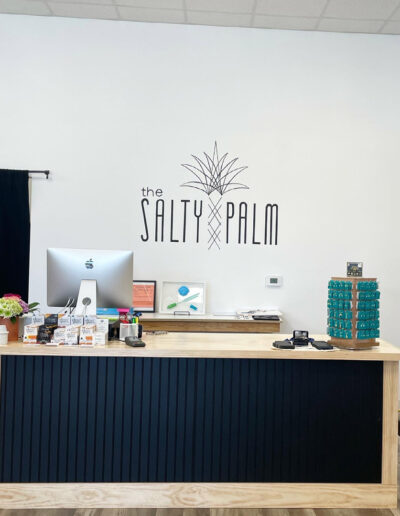 Salty Palm - Wall Logo Black Letters on White Wall