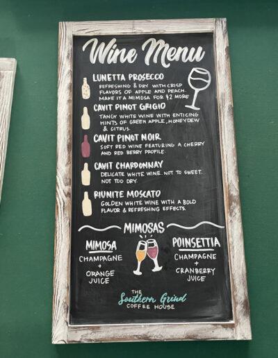 Southern Grind - Wine Menu