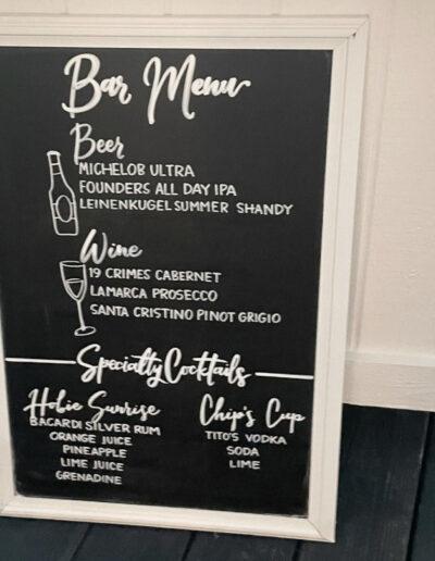 Sumlin Wedding - Black Bar Menu