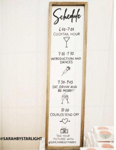 Sumlin Wedding - Schedule Sign