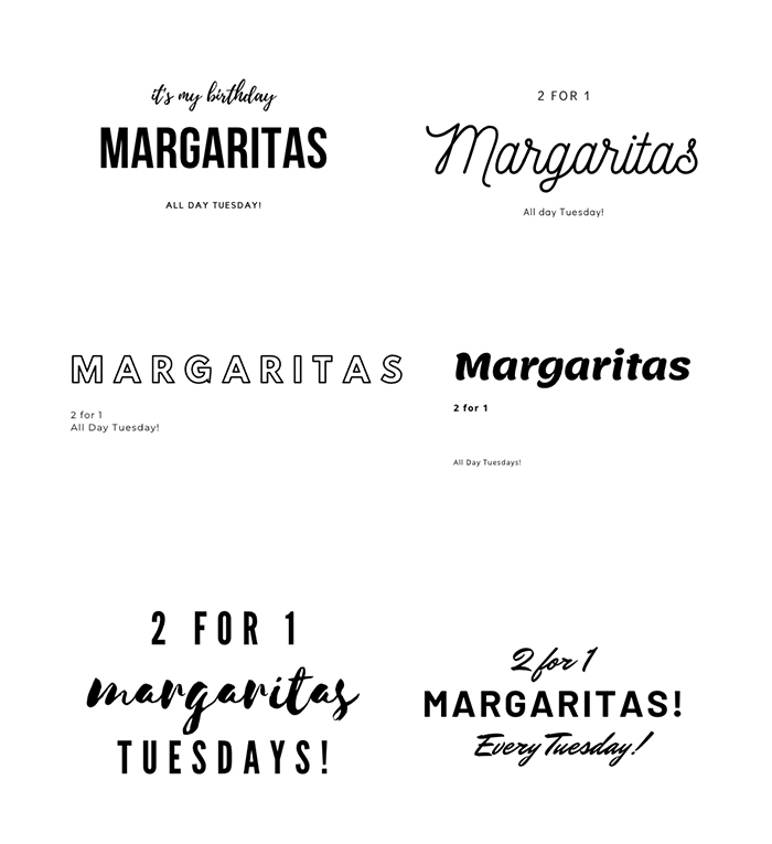 A collection of heading font options