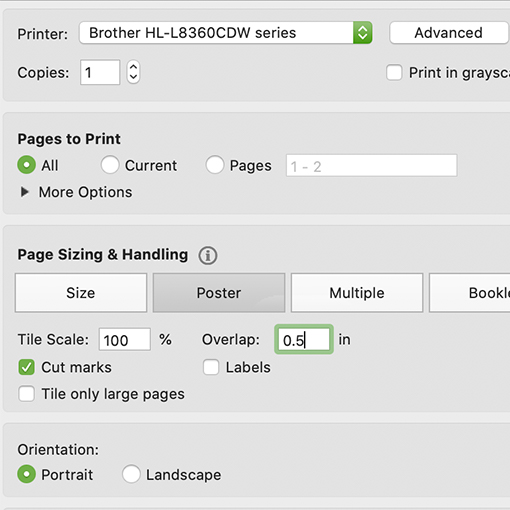 template pdf settings